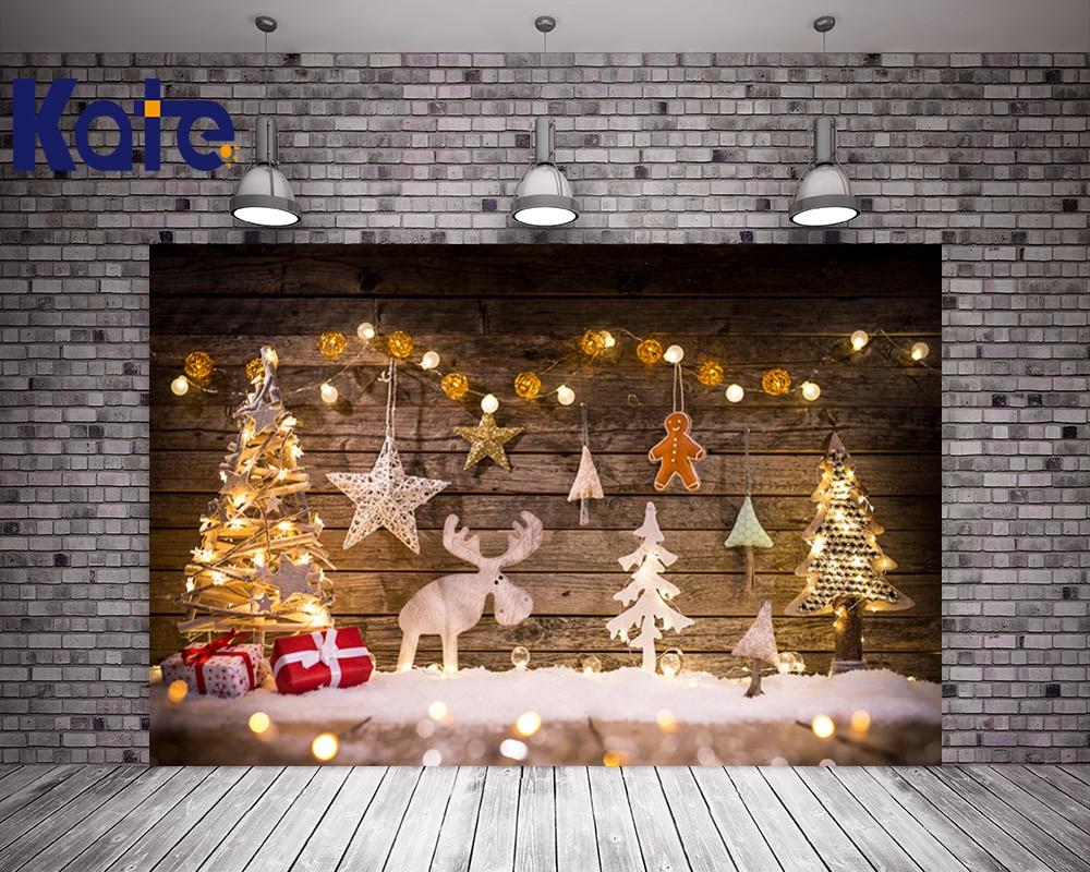 Kate Elk Photography Backdrops Christmas Retro Wood Light Gingerbread Photo Backdrop Snow Washable Tree Studio Background retro background christmas photo props photography screen backdrops for children vinyl 7x5ft or 5x3ft christmas033