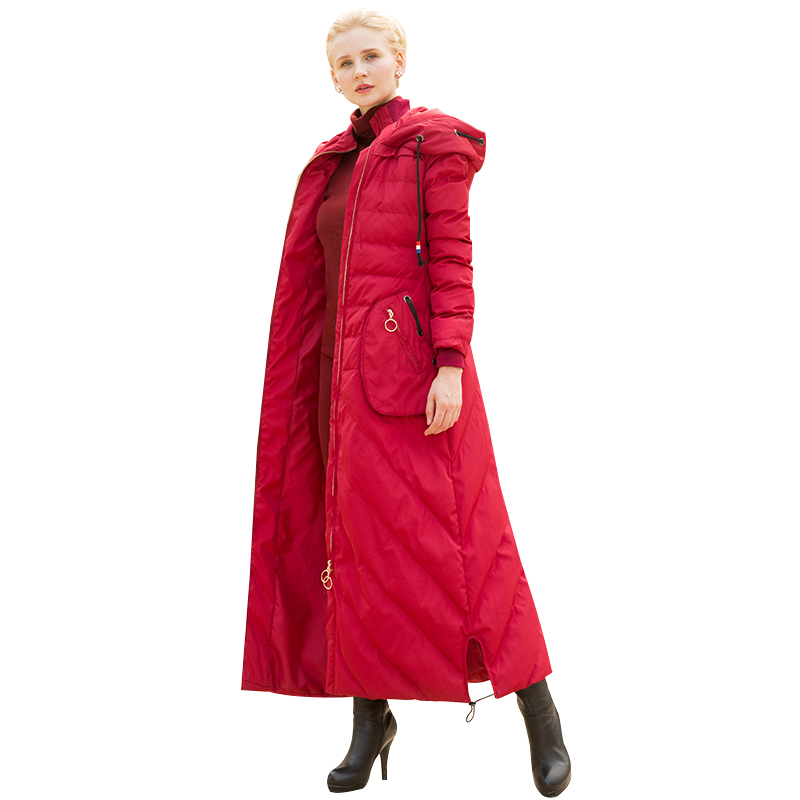 High Quality S-4XL Red Big Coat Women Winter   Parka   Plus Size X Long Jacket Warm Fashion Outwear with Cap DH1077