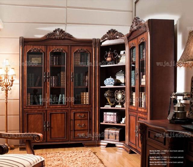 boekenkast amerikaanse boekenkast mode klassieke meubelen deur hoek boekenkast tafel houten sculptuur boekenkastverzending verstelbare