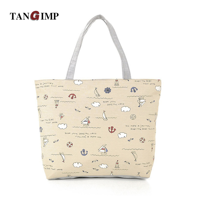 Tangimp Canvas Handbags Ping Shoulder Bags Tote Anchor Boat Women Daily Las Female Totos Bolsa Beach
