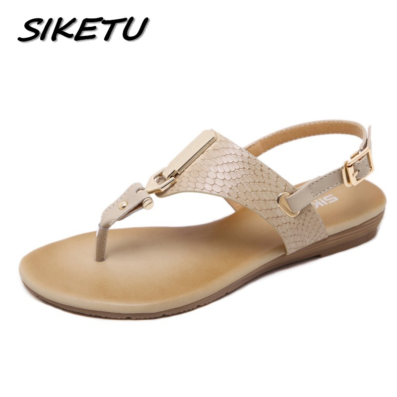 SIKETU New summer women wedge sandals shoes woman metal decoration buckle flip flip beach sandals plus size 35-41 black apricot sandals 2016 new famous brand buckle womens flip flop sandals summer beach sandals af327