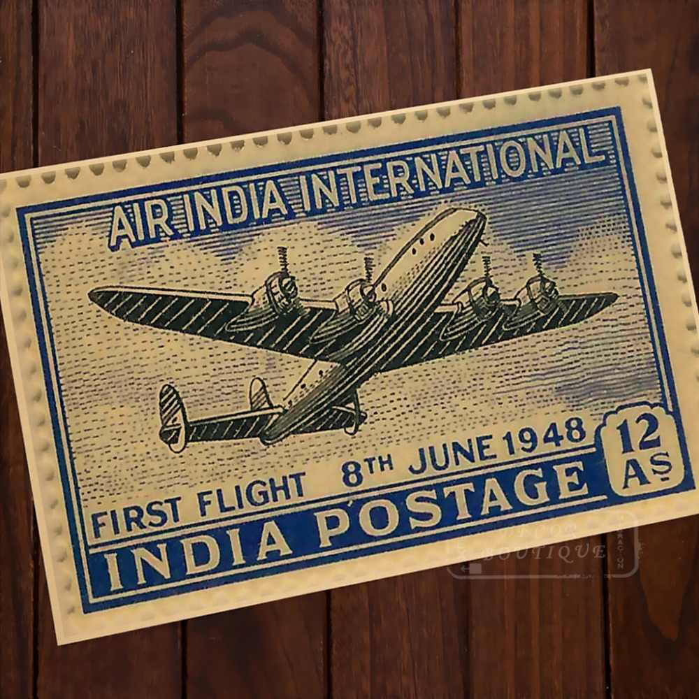Mapa de sello de Air India Internacional clásico Vintage Retro Kraft lienzo pintura póster mapas inicio Bar carteles pared decoración regalo