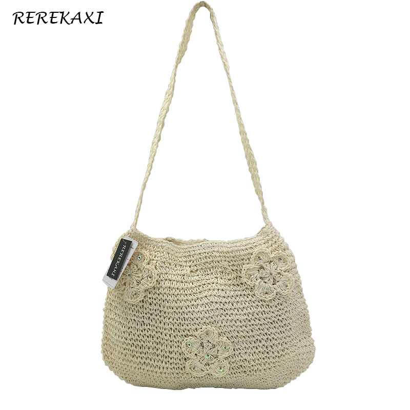 <font><b>REREKAXI</b></font> New Fashion Simple Hollow Straw Beach Bags Women Shoulder Bag Vintage Knitted Handbag Handmade Ladies Messenger Bag image