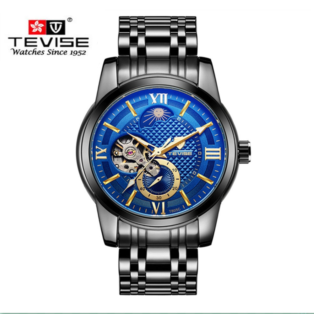 Men Watches Tourbillon Fashion Men Automatic Mechanical Watches Moon Phase Men Wristwatch Black Steel Tevise relogio masculino