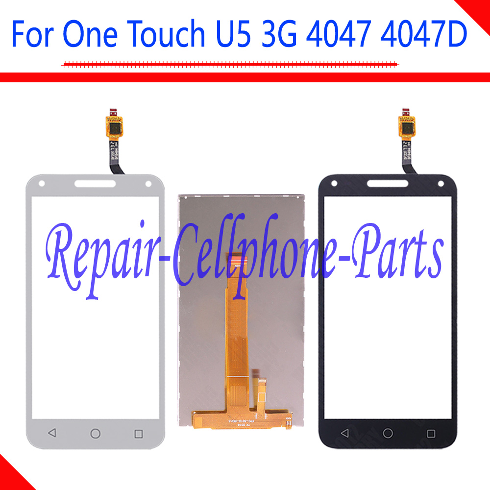 Black / White New Touch Screen Digitizer + LCD Display For Alcatel One Touch U5 3G OT4047 4047 4047D Free Shipping + Tracking