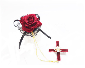 Lolita Girls Japanese Girls Rose Lace Hair Clip Gothic Lady Chains Hair Accessory Vintage  1