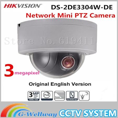 Hikvision Original English Version DS-2DE3304W-DE 3MP Network Mini PTZ IP Camera 4X Zoom IP66 PoE Security CCTV Camera hikvision ds 2de3304w de english version 1080p mini ptz ip camera 2 8mm 12mm 4x zoom support ezviz outdoor poe security camera