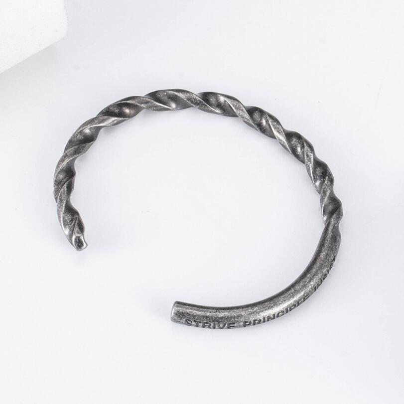 Vintage Silver Black Men's Indian 316L Stainless Steel Bracelets Jewelry Gothic Twisted Cuff Bangles Bracelet For Women Men Gift