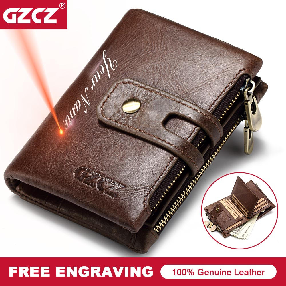 GZCZ Genuine Leather Men Wallet Small Male Wallets Zipper&Hasp Fashion Portomonee Short Coin Purse Brand Perse Carteira For Rfid