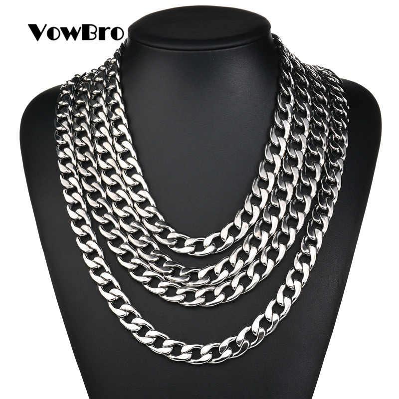 VowBro srebrny wypełniony stałe naszyjnik Curb łańcuchy Link mężczyźni Choker ze stali nierdzewnej mężczyzna kobiece akcesoria mody 2018