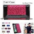 Para iphone 7 glitter virar carteira de couro case capa para iphone 6 s 2 em 1 espelho bolsa das mulheres bolsa para iphone 7 plus com cadeia
