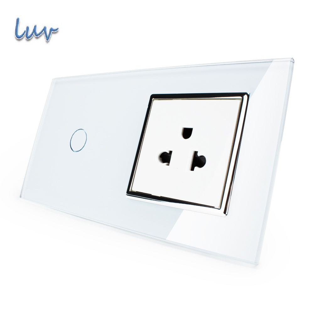 Touch Switch&US Socket, White Crystal Glass Panel, 110~250V 13A US Wall Socket with Light Switch LUV smart home wall touch switch white crystal glass panel 1gang1way 110 250v led indicator us light led touch screen switch