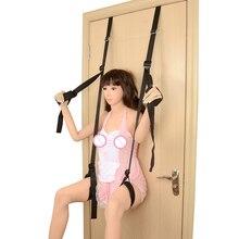 Erotic Open Leg Door Hanging Love Chair BDSM Bondage Restraint Ropes Adult Games Sex Handcuffs Nylon Swing For Women Couples