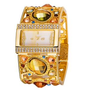 Amazing Women's Golden Bracelet Watch with Graceful Multi Color Diamond Decoration, gold analog hollow engraving women watches(China)