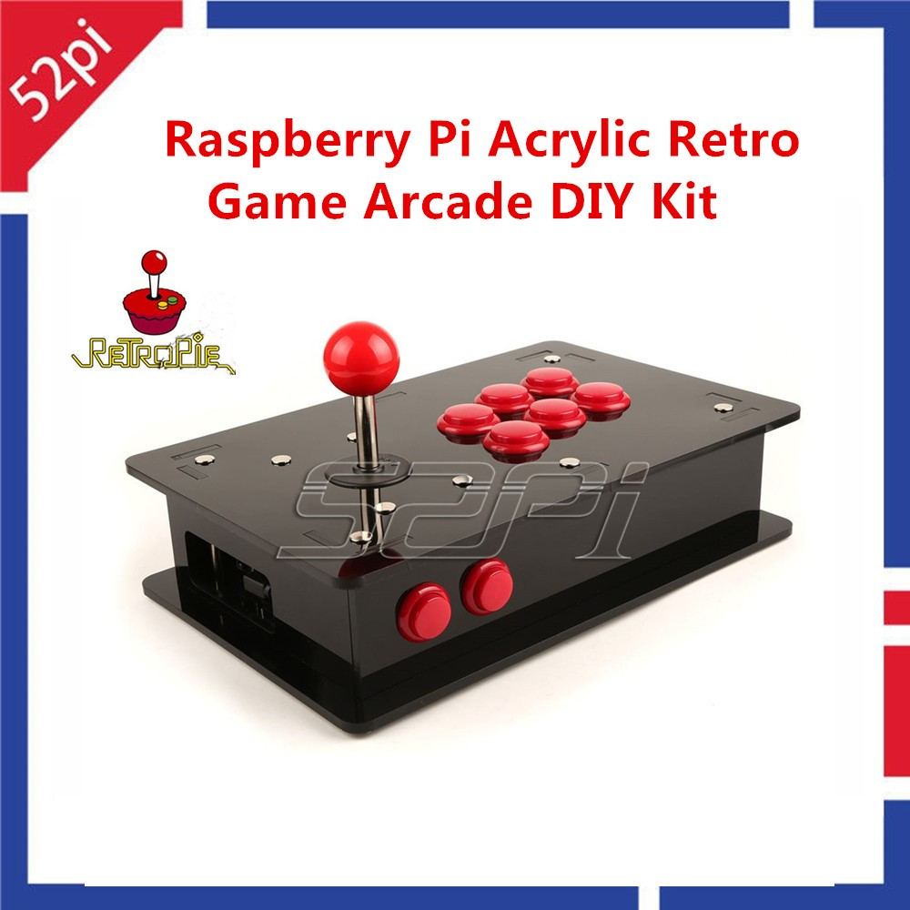 52Pi Raspberry Pi 3 Acrylic Retro Game Arcade DIY Kit With USB Joystick Control Board+Arcade Push Buttons+Joystick+Acrylic Box