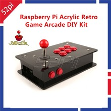 52Pi Raspberry Pi 3 Acrylic Retro Game Arcade DIY Kit with USB Joystick Control Board+Arcade Push Buttons+Joystick+Acrylic Box