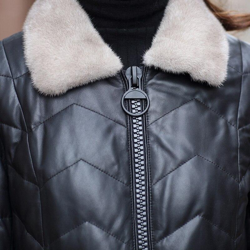 Peau Mouton De Femmes Longue Black Cuir Col D'hiver Fourrure Véritable Vestes Manteaux Vison Manteau Veste Taille Réel Bas Vers Plus En Chaqueta Le Mujer Zl774 dfE4nAaAWq