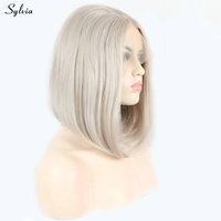 Sylvia 14 platinum short bob lace front synthetic wig beige color straight women replacement soft hair shoulder length glueless