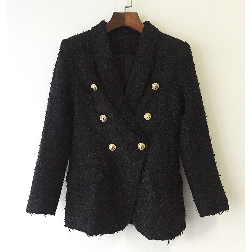 HIGH QUALITY Newest Fashion 2018 Designer Jacket Coat Women s Double Breasted Metal Lion Buttons Tweed