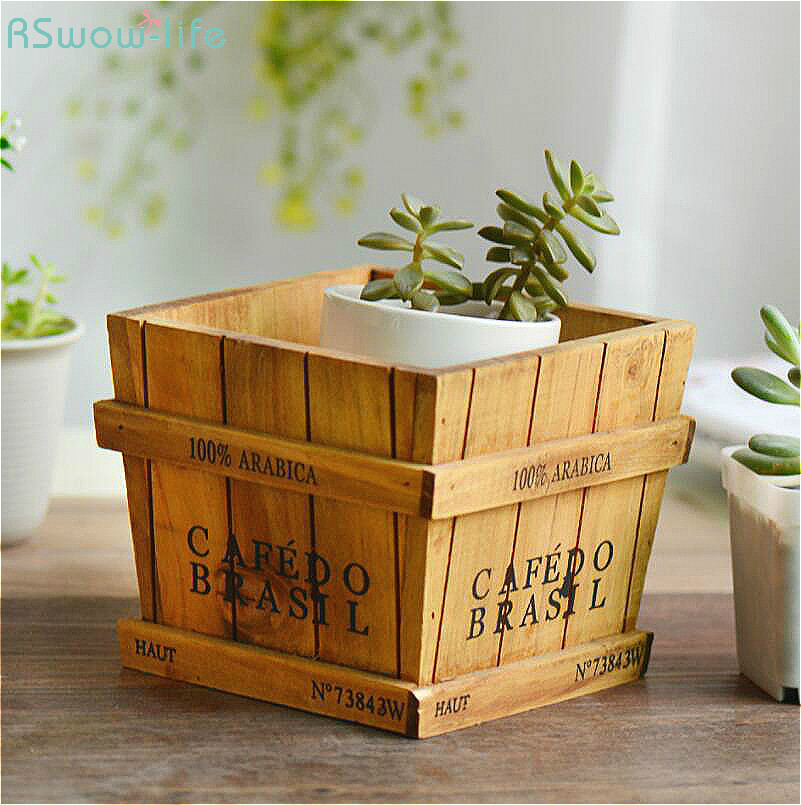 Solid Wood Retro Fleshy Plant Receives Candy Barrels Trays Desktop Receptacle Boxes Potted Wooden Box Gardening Pots Baskets-in Flower Pots & Planters from Home & Garden