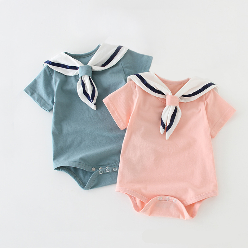Baby Girl Bodysuit Cotton Nowborn Clothing Boy Onepiece Navy Romper Cute Solid Short Sleeve Rompers Pink Blue Infant Overall