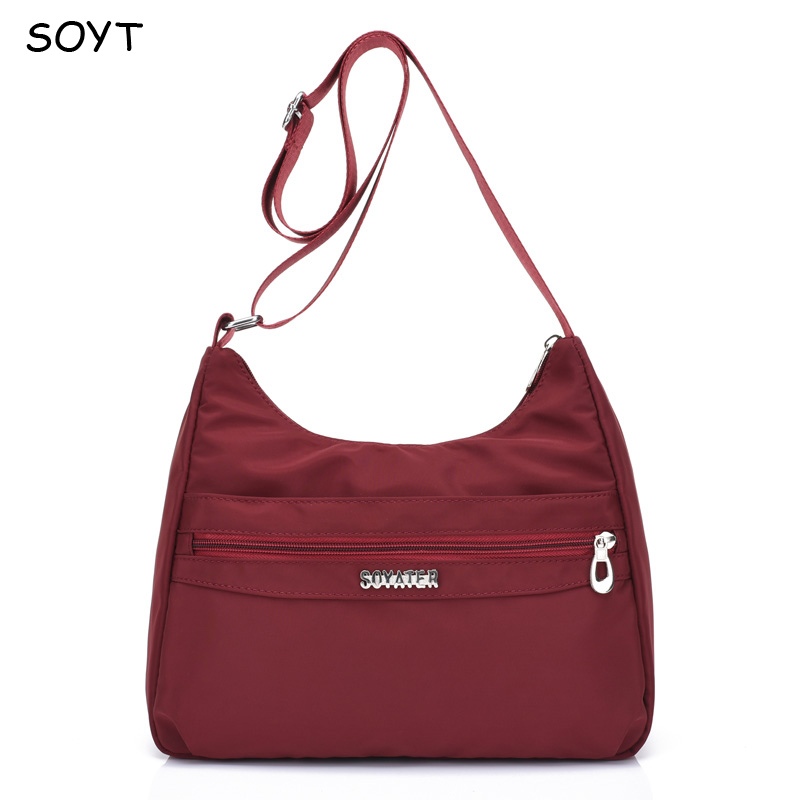 New Women Handbags Shoulder Bag Waterproof Nylon Ladies Messenger Bags Zipper Vintage Middle age Womens Crossbody Bag