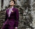 Alta Calidad Púrpura Increíble Smokinges Del Novio Novio Esmoquin Mejor Hombre de los Trajes Trajes Baratos Por Encargo Vestido de Fiesta de La Boda (Chaqueta + pantalones + Tie)