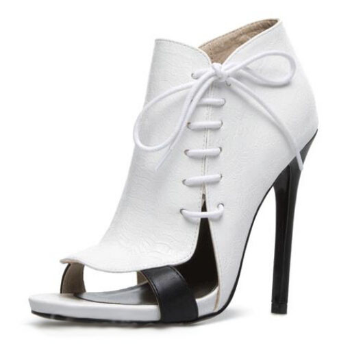 Elegant Woman White Ankle Boots Fashionable Lace Up Bowknot Design Sandal Boots Sexy Black Heel Open Toe Gladiator Short Boots