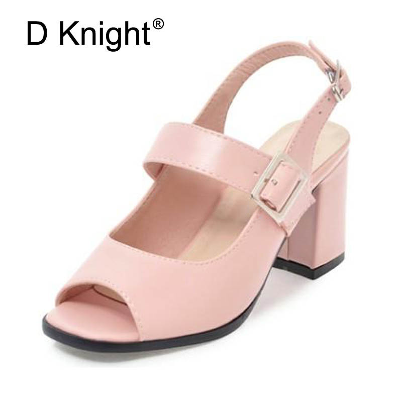 Women Sandals New Fashion Summer Buckle Strap Square Heel Lady Pumps Woman Shoes Elegant Peep Toe High Heel Slingbacks Size 12 xiaying smile summer new woman sandals platform women pumps buckle strap high square heel fashion casual flock lady women shoes page 9