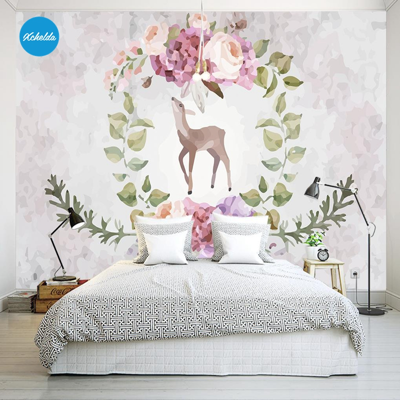 XCHELDA Custom 3D Wallpaper Design Elk Flowers Photo Kitchen Bedroom Living Room Wall Murals Papel De Parede Para Quarto kalameng custom 3d wallpaper design street flower photo kitchen bedroom living room wall murals papel de parede para quarto