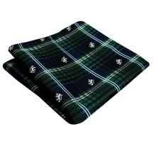 Handkerchief Checked Green Blue Tartan Pocket Square Mens Ties Silk Jacquard Woven Hanky
