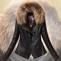Весной кожа женщин тонкие кожаные куртки женщин короткая пункт прилив со съемным меховым воротником 138