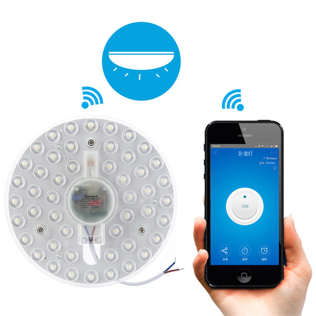New Sonoff BN SZ01 WiFi Wireless Round Flush Mount LED Ceiling Light Cold White EWelink