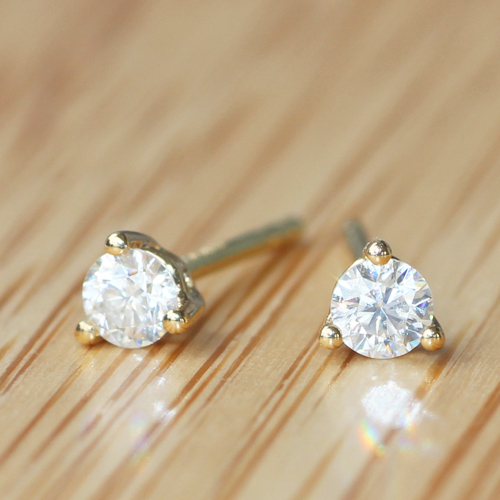 Queen Brilliance Genuine 18k 750 Yellow Gold 3mm G H Vvs2 Lab Grown Moissanite Diamond Earrings 3