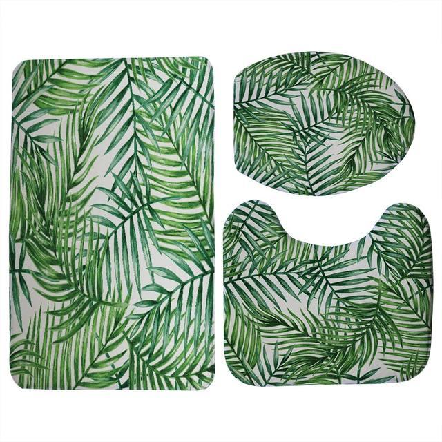 Miracille Set Da Bagno Toilet Seat Cover Creativo Tropicale Foglie Verdi Igienica Stampata Vestiti Decorazioni Per La Casa Bagno Zerbino