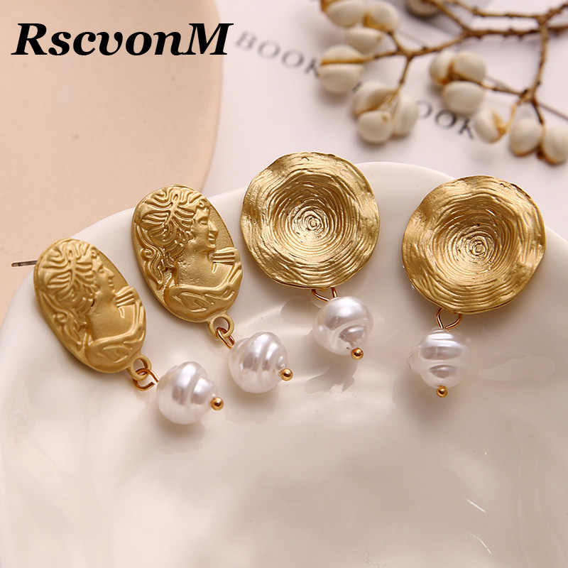 New Modern Style Round Pearl Charm Statement Earrings For Women Jewelry Trendy Gold Color Big Geometric Human Head Drop Earring