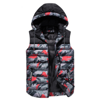 New Brand Men Outdoor climbing Vests Detachable Hooded red Camouflage Patchwork Waistcoat Quality Keep Warm Down Feather jacket