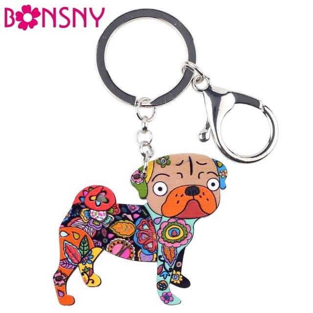 Bonsny Acrylic Dog Jewelry Terrier Pug Dog Key Chain Key Ring Pom Gift For  Women Girl 8ecbbbf79