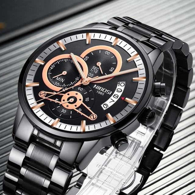 NIBOSI Rose Gold Mens Watches Top Brand Luxury Relogio Masculino Quartz Watch Men Clock Waterproof Sports Watch Erkek kol saati 3