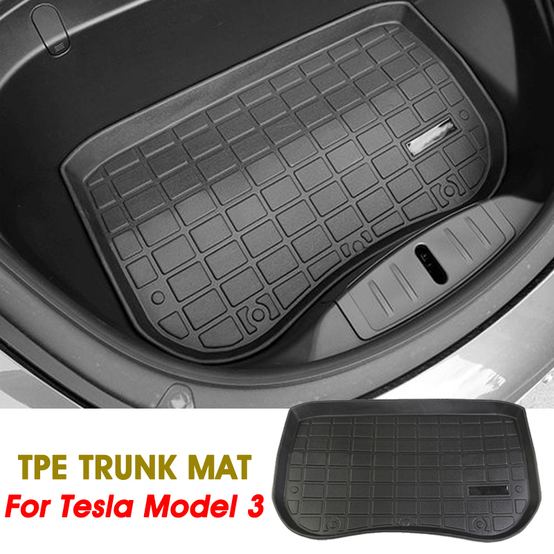 Audew 1Pc Black TPE Material Waterproof Front Cargo Tray Trunk Floor Mat Anti-dust Boot Cargo Liner Custom Fit For Tesla Model 3
