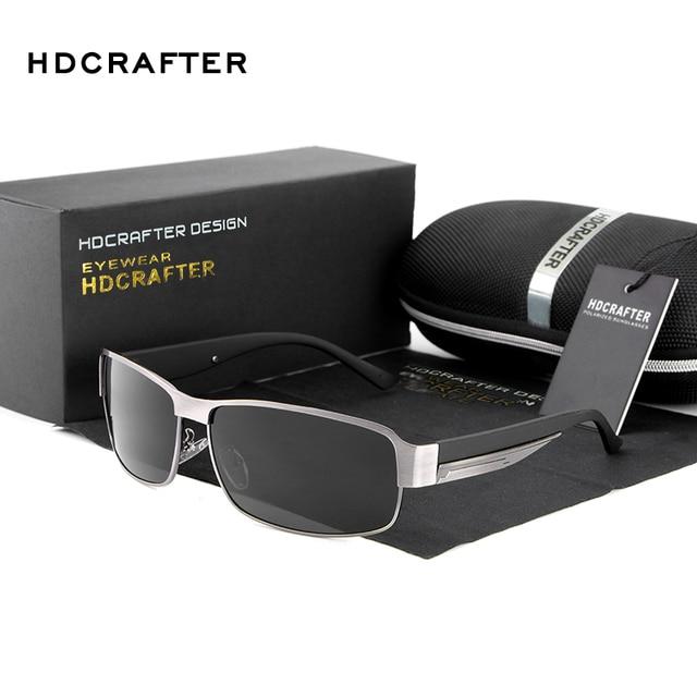 51b61d91997 HDCRAFTER Rectangle polarized sunglasse men Fashion High Quality Metal Frame  retro men Sunglasses for Male Driving