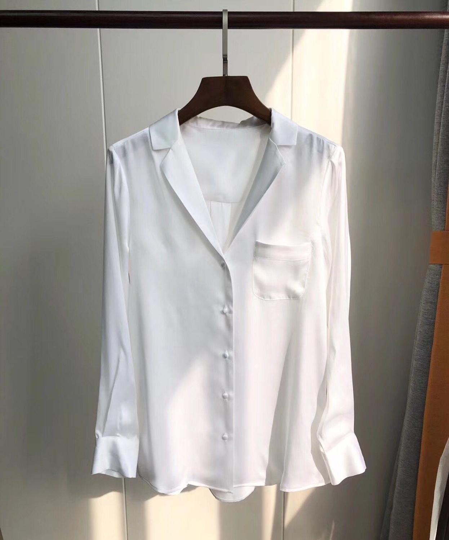 2019 New Women Single Pocket Silk Satin Shirt Long Sleeve Turn Down Collar Soft Blouse Top