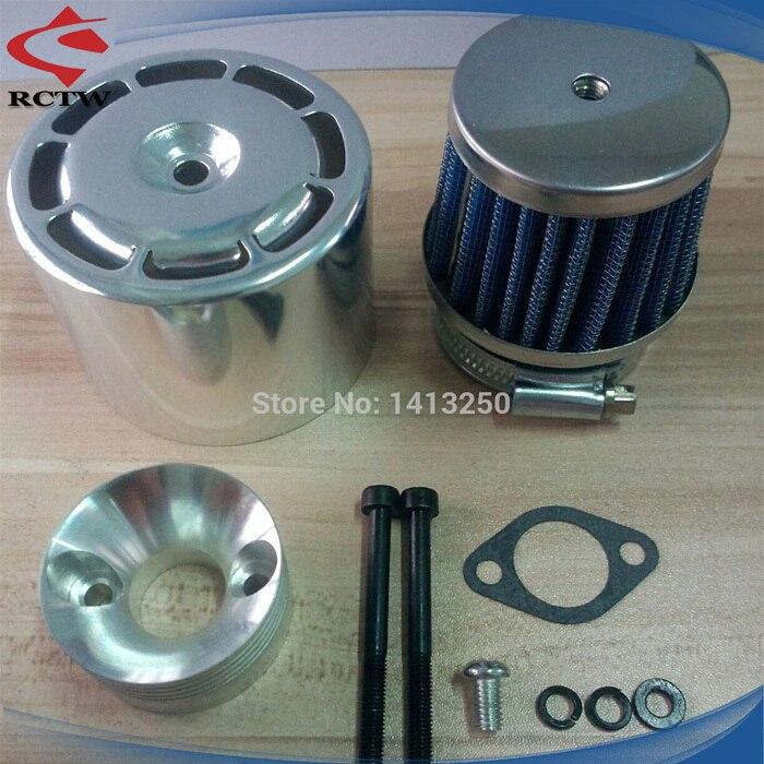 Filtro de ar com tampa de metal Encaixa CY Motores de RC para 1/5 FG BAJA HPI KM ROVAN Zenoha 5B SS Vermelho prata tampa azul