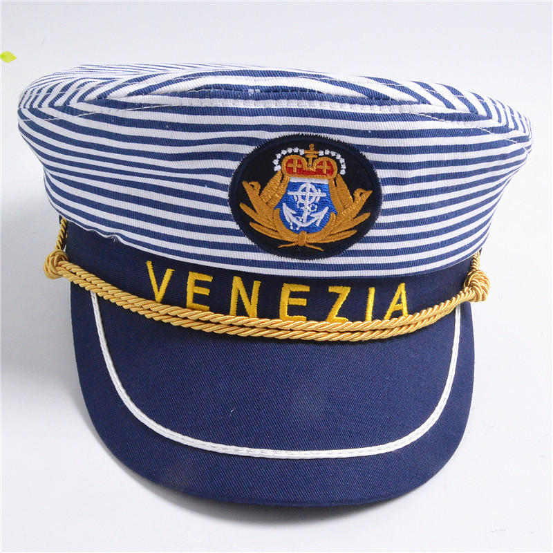 d04c0aa70 US $6.99 30% OFF|Letter Navy Cap Blue Horizontal Stripes Men and Women  Captain Hat Army Stage Parenting Venezia Style Sailor Hat Adult and Kids-in  ...