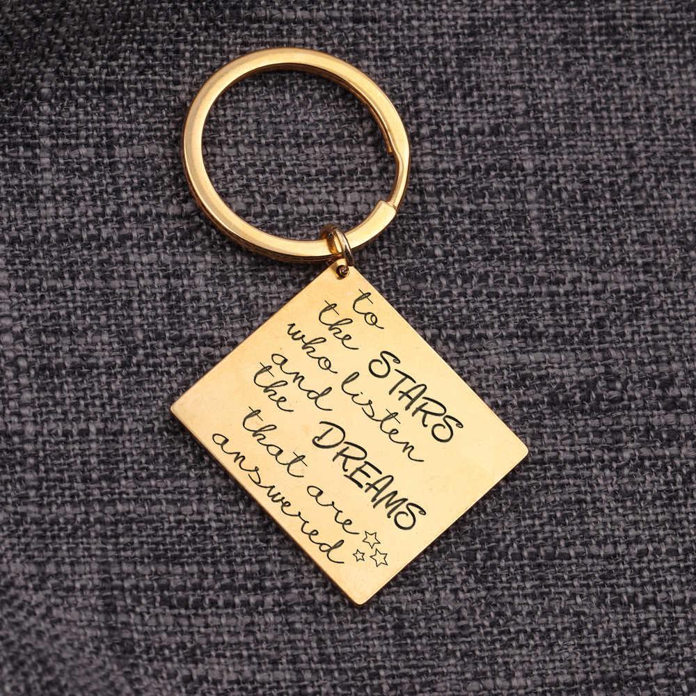 Untuk Bintang Yang Mendengarkan dan Mimpi Perhiasan Gantungan Kunci Liontin Gantungan Kunci Gantungan Tangan Dicap Huruf Tas Pesona Fashion Aksesoris