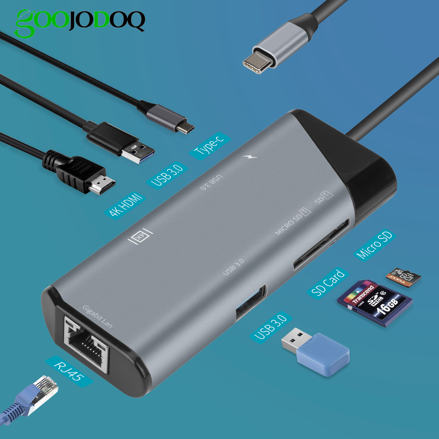 USB C HUB Type C to HDMI 4K Ethernet USB 3.0 SDTF Card For Macbook iPad Pro 2018