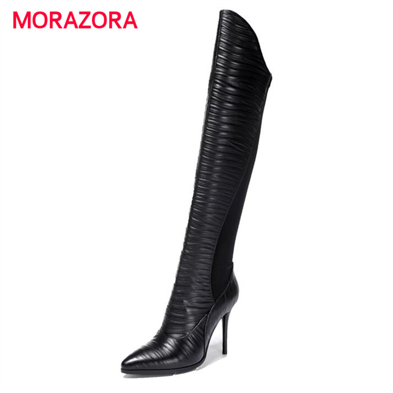 ФОТО MORAZORA Pointed toe thin high heels boots pu + genuine leather boots autumn zip big size 34-43 long boots party work shoes