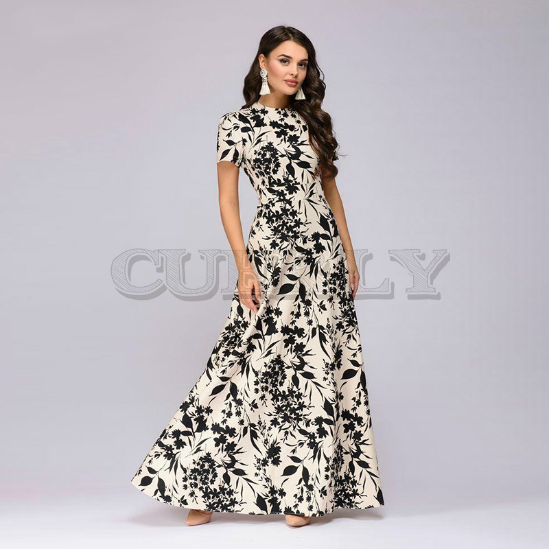 CUERLY Women Summer Long Dress Short Sleeve Floral Print Boho Elegant Party Slim Sundress de festa