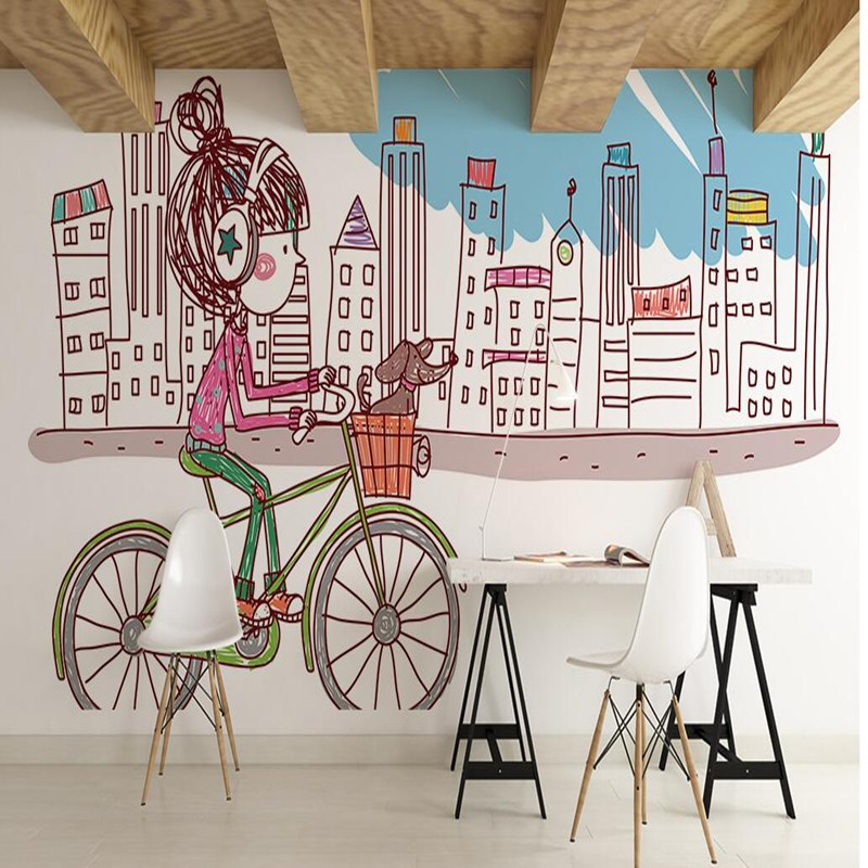 Wall Mural Wallpaper in Wallpaper Children's Room Hand-painted Girl Bicycle Non-woven Wallpaper Home Decor Wall Sticker 3D Mural 3d wall paper mural with any size hand painted balloon lovely cartoon bedroom 3d mural wallpapers for children non woven mural