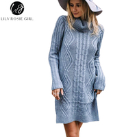 Lily Rosie Girl Blue Turtleneck Women Casual Knitted Sweater Dresses Autumn Winter Mini White Sexy Split